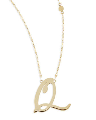 14k Gold Initial Letter Necklace, Q