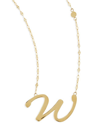 14k Gold Initial Letter Necklace, W