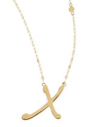 14k Gold Initial Letter Necklace, X