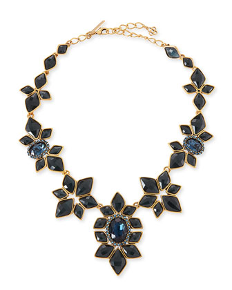 Resin-Facet Necklace, Navy