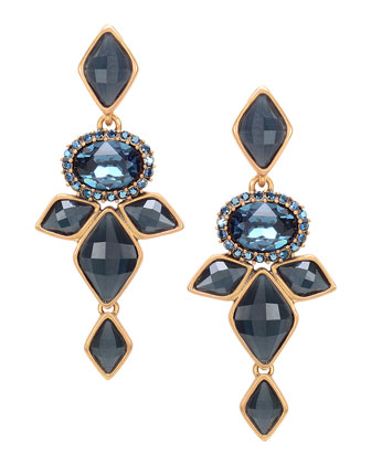 Marquise Resin Drop Clip-On Earrings, Navy Blue