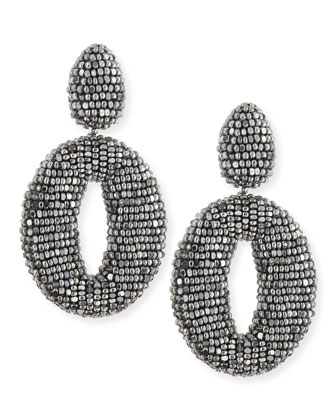 Oscar O Crystal Clip Earrings, Silver