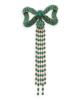 Rhinestone Bow Fringe Pin, Green