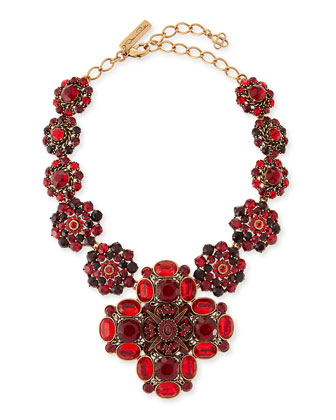 Bold Jeweled Necklace, Crimson
