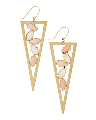 Pink Opal & Rainbow Moonstone Triangle Spike Earrings