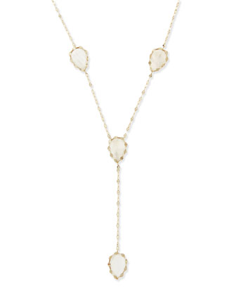 Rainbow Moonstone Dream Lariat Necklace