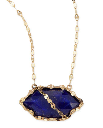 Splash Lapis Hexagon Necklace