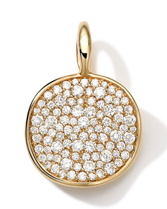 18k Medium Pave Diamond Disc Charm