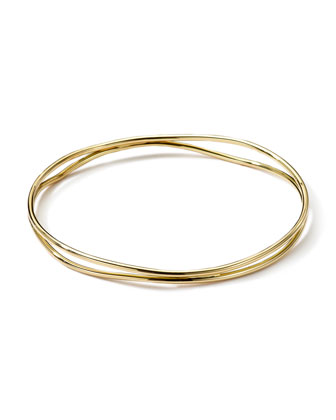 18k Gold Smooth Electroform Double Band Wavy Bangle