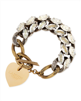 Crystal Chain Bracelet with Heart Charm