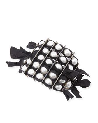 Black Grosgrain Pearly Bracelet