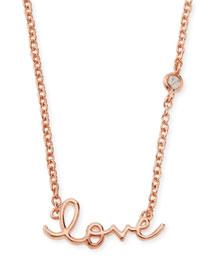 Rose Gold Love Pendant Bezel Diamond Necklace