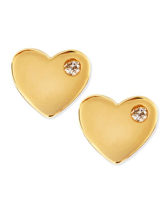 Diamond 14k Vermeil Heart Stud Earrings