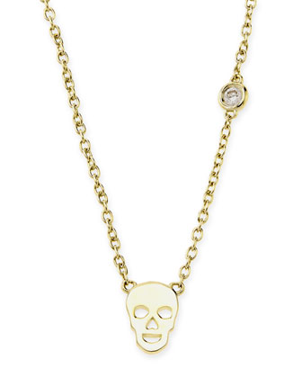 Gold Skull Pendant Bezel Diamond Necklace