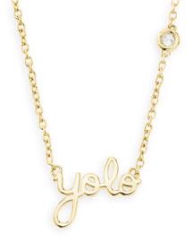 Gold YOLO Pendant Bezel Diamond Necklace