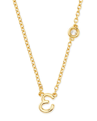 E Initial Pendant Necklace with Diamond