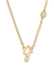 J Initial Pendant Necklace with Diamond