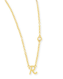 R Initial Pendant Necklace with Diamond
