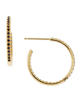 Small Yellow Blue Sapphire Hoop Earrings
