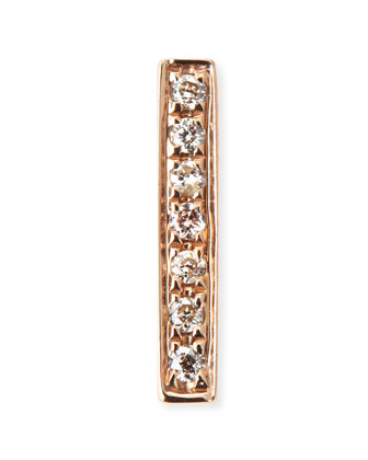 14k Yellow Gold Diamond Bar Single Stud Earring