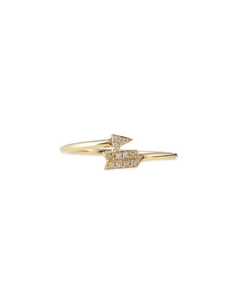 14k Yellow Gold Arrow Ring with Diamonds