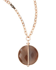 14k Rose Gold Plate & Agate Necklace, 34