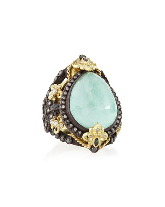 Old World Pear Green Turquoise Doublet Ring