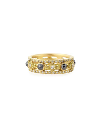 Sueno Yellow Gold Band Ring with Diamonds