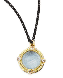Kyanite & White Quartz Pendant Necklace with Diamonds