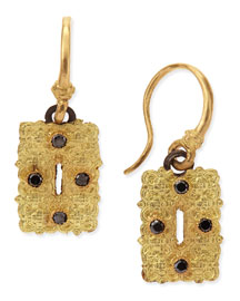 Small Rectangle Scroll Earrings with Black Diamonds