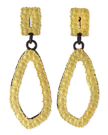 18k Gold & Midnight Carved Drop Earrings