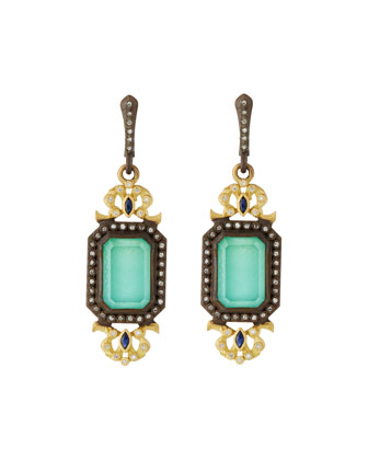 Green Turquoise Filigree Drop Earrings with Diamonds