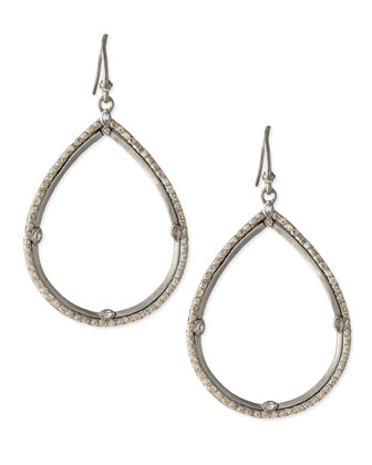 Silver & White Diamond Teardrop Earrings