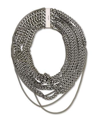 Silvertone Multi-Chain Choker Necklace