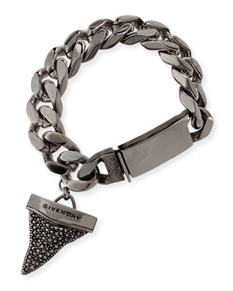 Gunmetal Pave Crystal Shark Tooth Bracelet