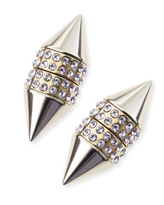 Single Small Double Cone Magnetic Shark Earring with Lavender Crystals