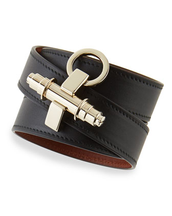 Calfskin Leather Wrap Bracelet, Black