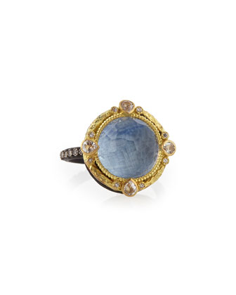 Round Kyanite Midnight Ring with Diamonds