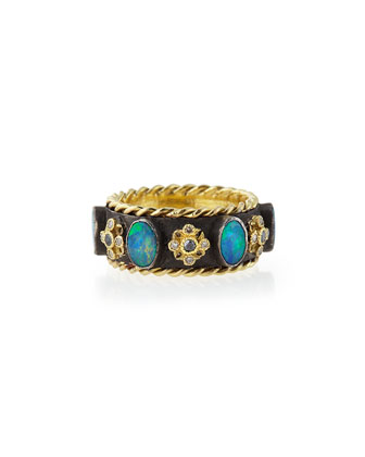Thick Stackable Band Ring with Opals & Diamonds