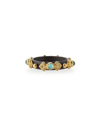 Midnight 3mm Green Turquoise Stackable Band Ring