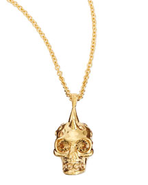 Punk Skull Pendant Necklace, Golden