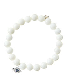 8mm Faceted White Agate Beaded Bracelet with 14k White Gold/Diamond Small Evil Eye Charm (Made ...