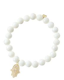 8mm Faceted White Agate Beaded Bracelet with 14k Yellow Gold/Diamond Medium Hamsa Charm (Made ...