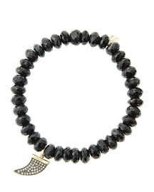 8mm Faceted Black Spinel Beaded Bracelet with 14k Gold/Diamond Medium Horn Charm (Made to ...