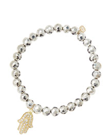 6mm Faceted Silver Pyrite Beaded Bracelet with 14k Yellow Gold/Diamond Medium Hamsa Charm (Made ...