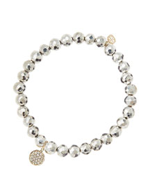 6mm Faceted Silver Pyrite Beaded Bracelet with Mini Yellow Gold Pave Diamond Disc Charm (Made ...