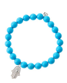 8mm Turquoise Beaded Bracelet with 14k White Gold/Diamond Medium Hamsa Charm (Made to Order)
