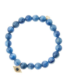 8mm Kyanite Beaded Bracelet with 14k Yellow Gold/Diamond Small Evil Eye Charm (Made to Order) ...