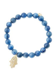 8mm Kyanite Beaded Bracelet with 14k Yellow Gold/Diamond Medium Hamsa Charm (Made to Order)