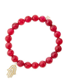 8mm Faceted Red Agate Beaded Bracelet with 14k Yellow Gold/Diamond Medium Hamsa Charm (Made to ...
